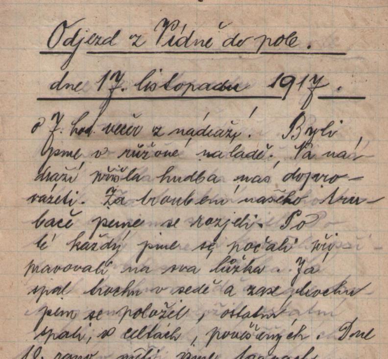 Ukázka první strany deníku